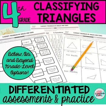 Classifying Triangles Worksheets Tests 4th Grade Geometry 4.G.2 (differentiated)