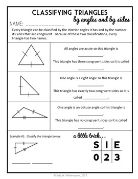 Classifying Triangles by Angles and Sides, 2-Day Geometry Lesson Packet, 16 pgs