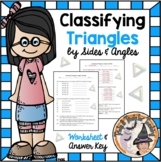 Classifying Triangles by Angles and Sides Practice Worksheet and Answer KEY