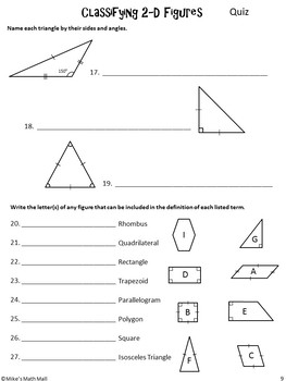 Classify Two-Dimensional Figures Made Easy (Mini Bundle)