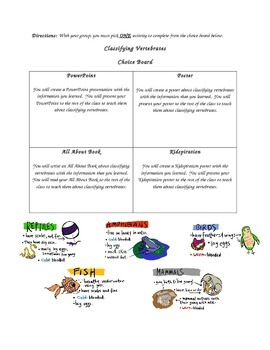 Classifying Vertebrates Choice Board Projects