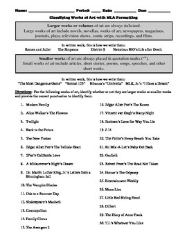 Classifying Works of Art with MLA Formatting Worksheet