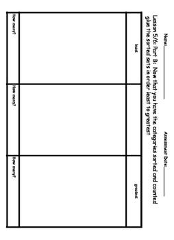 Eureka Math / Engage NY Lessons 1-6 classifying & catergorizing Assessment