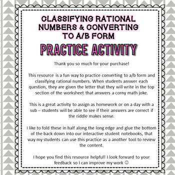 Classifying & Converting Rational Numbers Practice Activity - 6th Grade Go  Math
