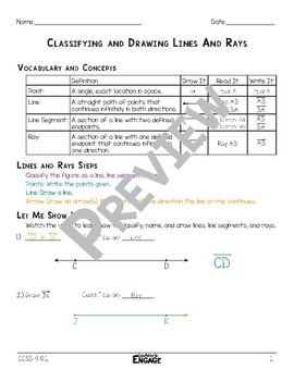 Classifying and Drawing Lines, Line Segments, and Rays Math Video and Worksheet
