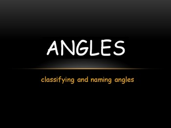 Classifying and Naming Angles