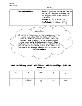 Classifying and Ordering Real Numbers Guided Notes