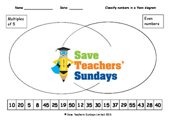 Classifying numbers in Venn diagrams  lesson plans, worksh