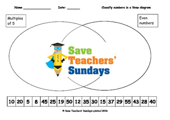 Classifying numbers in Venn diagrams worksheets  (4 levels of difficulty)