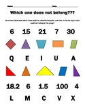 Classifying shapes, numbers, and letters -- which does not belong?