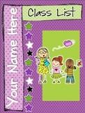 Classlist Binder Cover Editable and Classlist Template Editable-Purple and Green