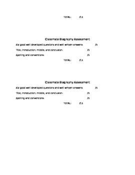 Classmate Biography Writing Assignment