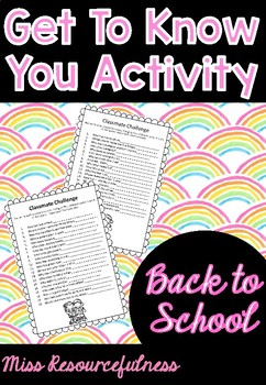 Classmate Challenge Back to School Activity