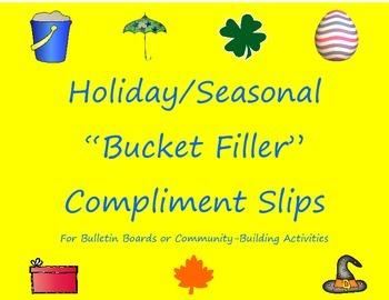 """Bucket Filler"" Compliment Slips Bundle: 7 Holiday/Seasonal Themes!"