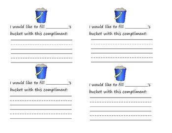Classmate Compliments/Bucket Fillers: Summer/Beach Theme
