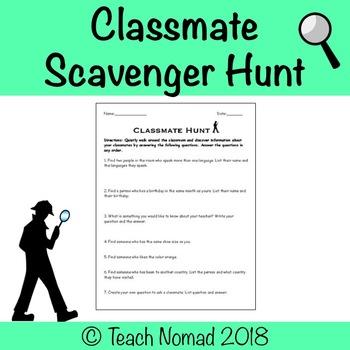 Classmate Scavenger Hunt - Community Building Activity