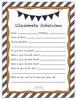 Classmate Interview Sheet