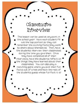 Beginning of Year - Classmate Interviews
