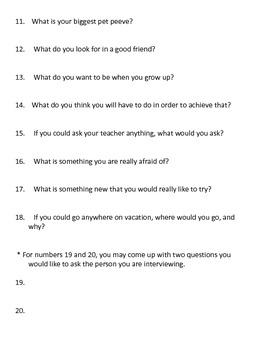 Classmate Interviews - First Day of School Activity