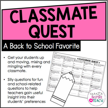 Classmate Quest - A Back to School Activity