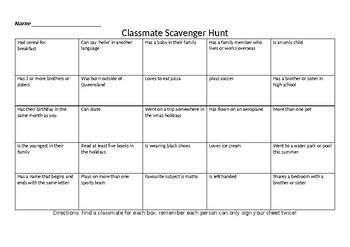 Classmate Scavenger Hunt