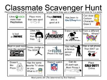 Classmate Scavenger Hunt - First day Ice Breakers - Feat. FORTNITE & AVENGERS