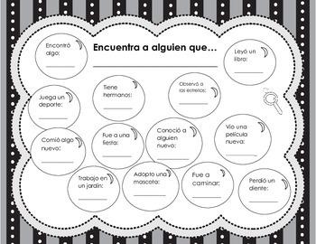 Classmate Scavenger Hunt in Spanish