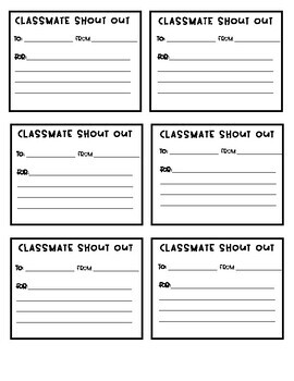 Classmate Shout Out Slips