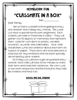 Classmate in a Box - A First Week Activity