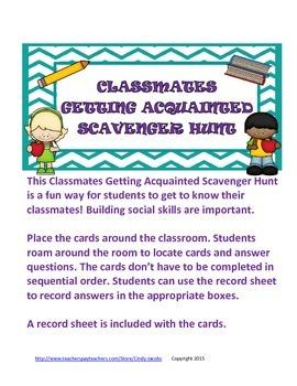 Classmates Getting Acquainted Scavenger Hunt