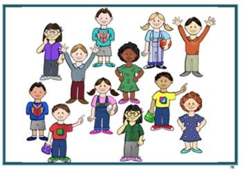 Classmates 24 characters - Original Clips, Fun Art, Digital Clipart, Great deal!