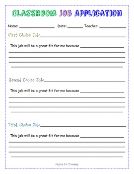 Classrom Job Application