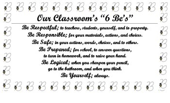 """""""Classroom 6 Be's"""" Expectations Poster/Anchor Chart for Classroom"""