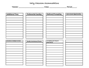 Classroom Accommodations Sheet