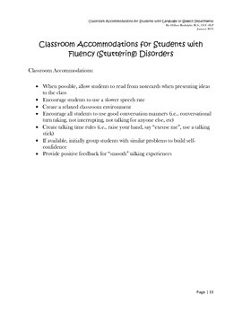 Classroom Accommodations for Students with Language or Speech Impairments