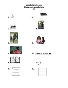 Classroom Actions Vocabulary Review Jigsaw Activity