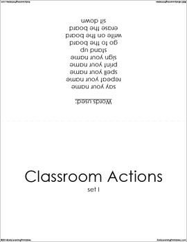 Classroom Actions (set I) Picture Flashcards