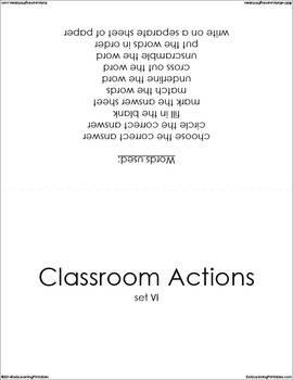 Classroom Actions (set VI) Picture Flashcards