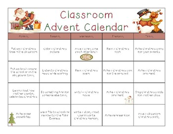 Classroom Advent Activity Calendar