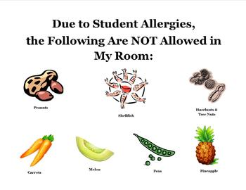 Classroom Allergies Warning Sign