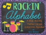 Classroom Alphabet CURSIVE {Rockin' Rockstar Theme} {Wall Cards/Posters}