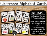 Classroom Alphabet Cards with Picture Icons-Print and Curs