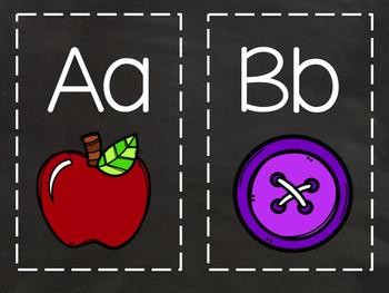Classroom Alphabet (Chalkboard Background)