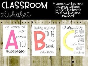 Classroom Alphabet - Inspirational and Motivational