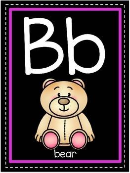 Classroom Alphabet Posters (Black Edition)
