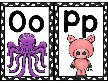 Classroom Alphabet Posters: Black & White Polka Dots