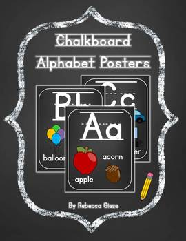 Classroom Alphabet Posters {Chalk, Lined Print}
