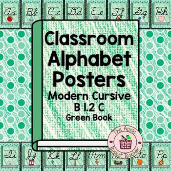 Classroom Alphabet Posters | Cursive | Green Crayon Book| B 1.2 C