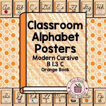 Classroom Alphabet Posters | Cursive | Orange Crayon Book| B 1.3 C