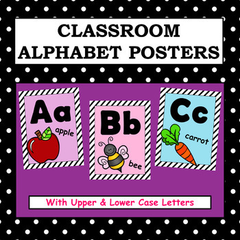 Classroom Alphabet Posters - (Stripes - Upper and Lower Case Letters)